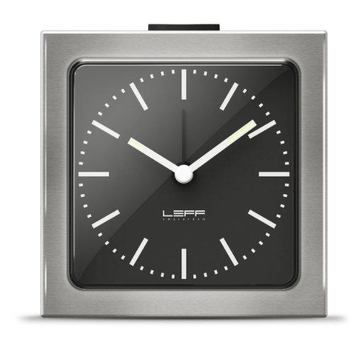 alarm clock block stainless steel black index by LEFF amsterdam
