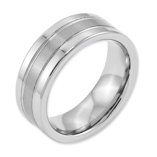 White Dura Tungsten Flat Grooved 8mm Brushed And Polished Band, Size 11