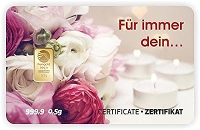 Goldbarren Geschenkkarte 0,5 g 0,5g Gramm Feingold 999.9 Nadir Gold Valentinstag - 1