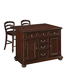 Home Styles Colonial Classic Kitchen Island With Wood Top And 2 Stools Kitchen