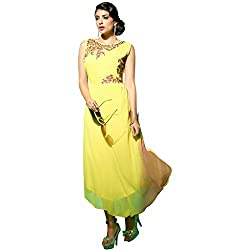 The Ethnic Chic Women's Yellow Color Faux Georgette Kurti.