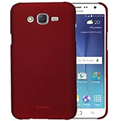 Casotec Ultra Slim Hard Shell Back Case Cover for Samsung Galaxy J7 - Maroon Red