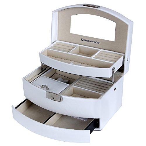 Songmics Boîte à bijoux coffrets beauty Case avec tiroir et miroir JBC213W