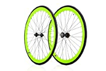 Retrospec Lime Green Super Deep-V Fixie Wheelset With 700C CST Tires Flip-Flop Hub 41mm