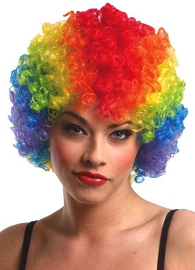 Clown Afro Wig (rainbow) Economy Adult Halloween Costume Accessory