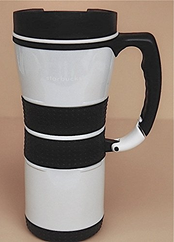 Starbucks Extreme Stainless Steel Travel Tumbler Thermos Mug W/ Carabiner Clip Handle - Pearl White, 16 Fl Oz