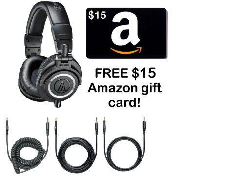 Audio-Technica Ath-M50X Professional Headphones - Black With Free $15 Amazon Gift Card