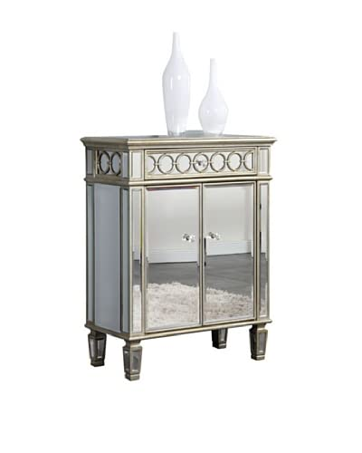 Audrey 2-Door Mirrored Cabinet, Silver Leaf