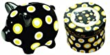 Manual Woodworkers and Weavers Pigs in the City Piggy Bank Black, Yellow and White Polka Dot