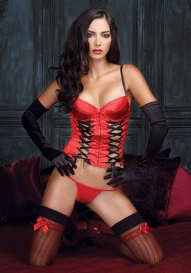 Valentine's Day Underwire Eyelet Bustier Sexy Lingerie Intimate Apparel with Lace Up Front