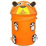 ZooKeepers Kid's Pop Up Laundry Hamper & Toy Storage Basket (Orange Bear)