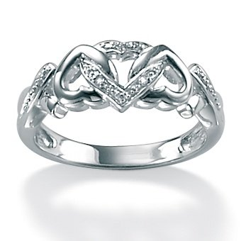 PalmBeach Jewelry Diamond Accent Platinum Over Sterling Silver Ring
