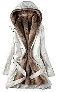 Women's Coat Parka With Detachable Faux Fur Lining Hooded