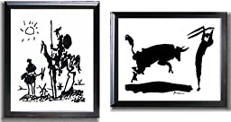 Don Quixote and Bullfight III by Picasso 2-pc Satin Black-Framed Canvas Set (Ready-to-Hang)
