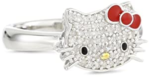 Hello Kitty by Simmons Jewelry Co. 1/5 Cttw Pave Diamond Face and Red Enamel Bow Girl's Ring, Size 7 by Hello Kitty