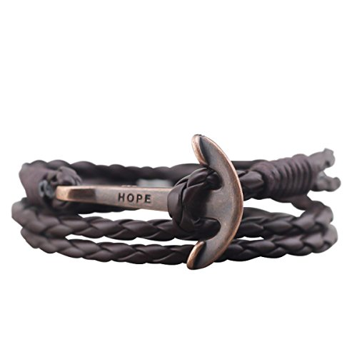Leather Anchor Bracelet for Men and Women-Durable Leather Bangle Wrap-Unisex Fashion Jewelry (BROWN)