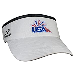 Headsweats Performance Super Running/Outdoor Sports Visor (Red/White/Blue, OSFA)