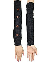 Womens Warm Winter Long Ribbed Knit Thermal Arm Warmers with Buttons one size Dark Grey