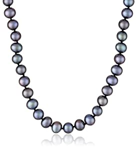 """Sterling Silver and Peacock Black A-Quality Freshwater Cultured Pearl Necklace (7.5-8mm), 16"""""""