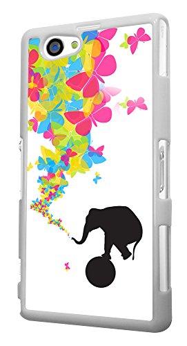 445 - Shabby Chic Cute Elephant Rolling Ball Butterflies Trunk Design für Alle Sony Xperia Z / Sony Xperia Z1 / Sony Xperia Z2 / Sony Xperia Z3 / Sony Xperia Z4 / Sony Xperia Z1 Compact / Sony Xperia Z2 Compact / Sony Xperia Z3 Compact / Sony Xperia Z4 Compact / Sony Xperia M2 / Sony Xperia M4 Fashion Trend Hülle Schutzhülle Case Cover Metall und Kunststoff - Bitte wählen Sie Ihr Telefonmodell und Farbe aus der Dropbox