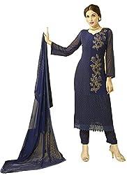 Rozdeal New Dark Blue Designer Dress Material