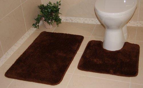Bolero Chocolate Brown Bath and Pedestal Bathroom Mats 2 Piece Set 3106 - 2 Sizes