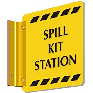 "Spill Kit Station, Spot-a-Sign Double-Sided Projecting Signs, 6"" x 6"