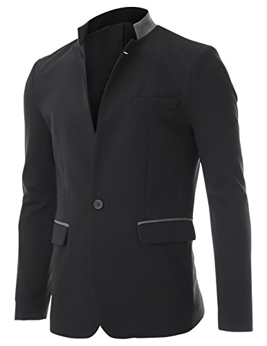 Flatseven Mens Casual Slim Fit 2 Tone Mandarin Collar Blazer Jacket With Pocket Flaps (Bj501) Black, Boys L