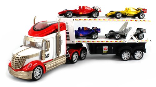 Rs-8 Racing Trailer Electric Rc Truck Ready To Run Rtr W/ 4 Extra Toy Formula One F1 Cars (Colors May Vary)