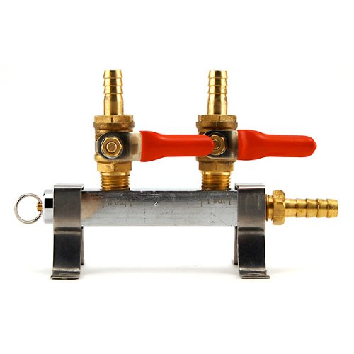 2-Way CO2 Distribution Bar with Shut Off Valves (Co2 Regulator Shut Off Valve compare prices)
