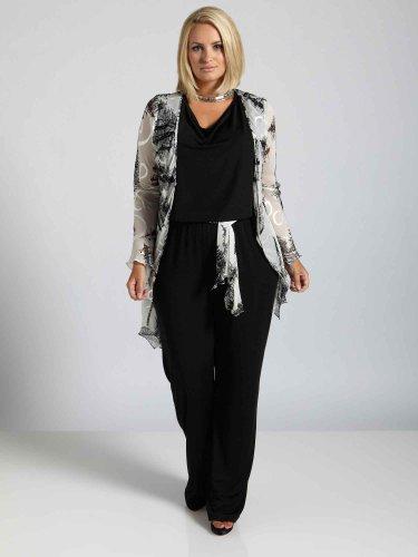 Viviana Long Sleeve Silk & Jersey Silk Plus Size Evening Jacket & Jumpsuit 31232016