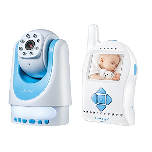 Timeflys Digital Video AudioBaby Monitor with Remote-controlled Camera Rotation, Tilt, Zoom, 2-way Talking, Night Vision, Temperature Sensor and Changeable Lullaby (Mini Sd Card Included) (Blue)