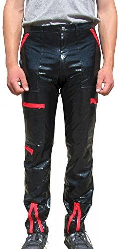 Countdown Men's PVC Parachute Pants with Zippers 40 Black (Parachute Pants With Zippers compare prices)