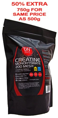 Deluxe Nutrition Micronized Creatine Monohydrate 200 Mesh 500g Resealable Pouch Strength, Size and Endurance Supplement Get 50% EXTRA FREE 750g For The Price Of 500g