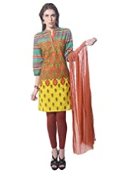 Saving Tree Mutli Cotton A Line Suit With Matching Contrast Legging And Dupatta