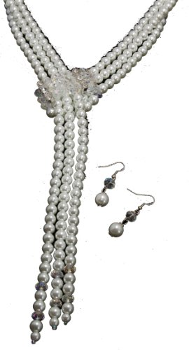 Long White Pearl Slide Necklace & Earring Set - Wedding/Prom Jewelry