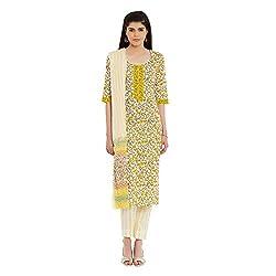 Pinkshink Pure Cotton Yellow Salwar Kameez Dress Material Fabric 113
