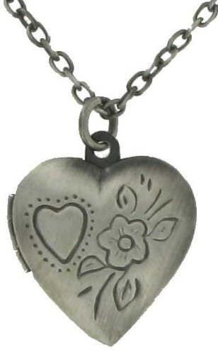 Burnished Silver Plated Metal Photo Locket Pendant Necklace Heart Shaped