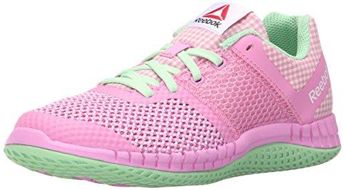 Reebok Zprint Run GHM Running Shoe (Little Kid/Big Kid), Icono Pink/Sea Form Green/White, 1.5