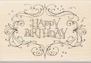 Rubber Stamp With Wood Handle, Happy Birthday Flourish Frame