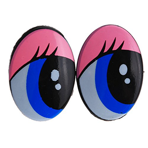 Dophee 5 Pairs 10pcs Oval Plastic Safety Doll Bear Blue Eyes Toys Puppets Animal DIY Craft