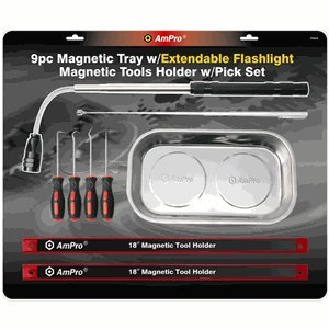 Ampro 73410 Magnetic Tray with Extendable Flashlight, Magnetic Tools and Pick Set, 9-Piece