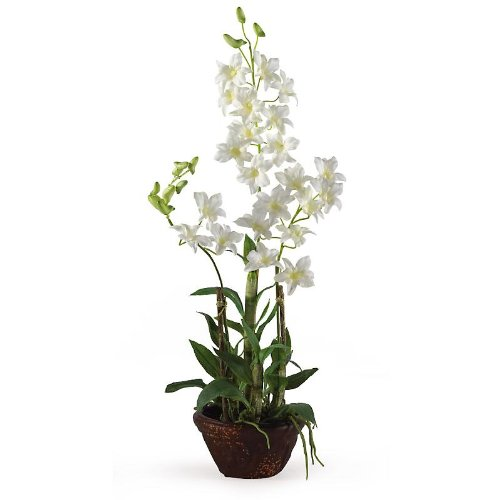 New Nearly Natural Dendrobium w/Decorative pot Perfect Brilliant Color Pretty Attractive White