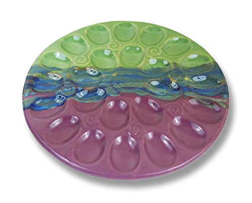 Clay In Motion Handmade Ceramic Deviled Egg Tray - Mossy Creek