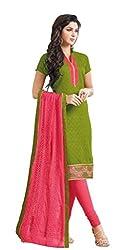 Fabgruh Presents Lakda Jacquard Dress Material(Mahendi Green)
