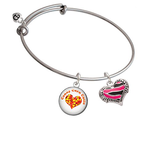 Hot Pink Tiger Print Heart - Candy Corn Cutie Expandable Bangle Bracelet (Sweet Corn Tiger compare prices)