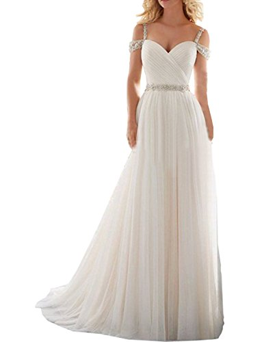 fa2494d4fb Lorderqueen Women s Sweetheart Tulle V Back Train Wedding Gown for Bridal