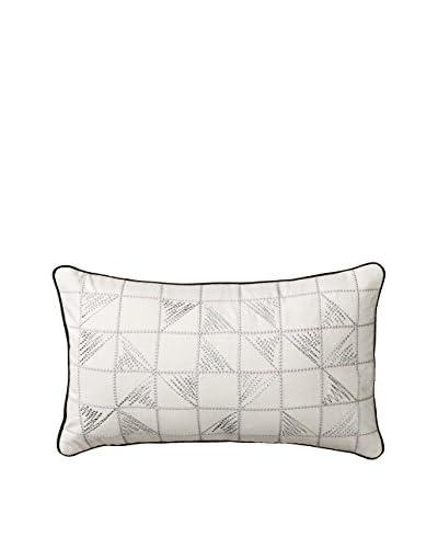 Steve Madden Netty Decorative Lumbar Pillow, Off White/Silver