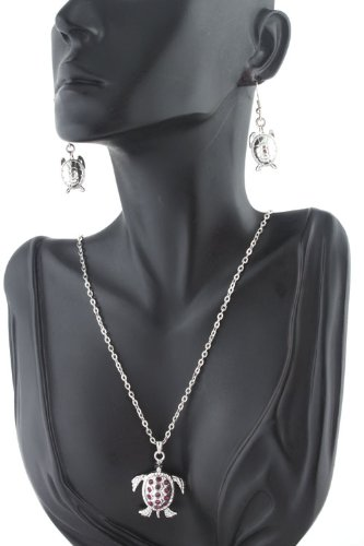Ladies Silver with Purple Iced Out Sea Turtle 20 Inch Adjustable Chain Necklace & Matching Earrings Jewelry Set