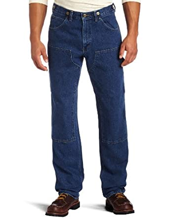 Key Apparel Men's Relaxed Fit Enzyme Washed Indigo Denim Logger Dungaree, Denim, 30x30